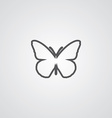 butterfly outline symbol dark on white background vector image vector image