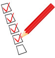 check mark symbol and icon on red checklist with vector image vector image