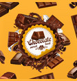chocolate 3d label vector image vector image