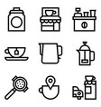 coffee related icon set line style vector image