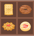 cookie cakes top view sweet homemade vector image
