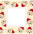 corgi santa claus on beige ivory banner card vector image vector image