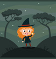 cute cartoon kid in colorful halloween vector image vector image