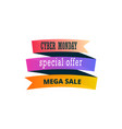 cyber monday sale banner design over a white vector image vector image
