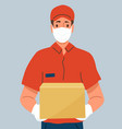 delivery man holding cardboard box wearing vector image