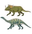 dinosaur triceratops barosaurus apatosaurus vector image vector image