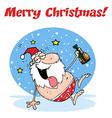 Drunk santa cartoon vector image vector image
