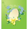 Easter greeting card with paper egg ribbon vector image