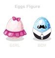 Eggs Figure cartoon easter girl and boy vector image vector image