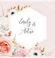 elegant floral fall stylish wedding invite vector image vector image