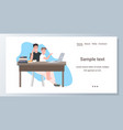 father with son sitting at workplace using laptop vector image vector image