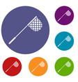 fishing net icons set vector image vector image