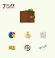 flat icon incoming set of billfold graph money vector image vector image