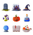 halloween symbols collection holiday party design vector image vector image