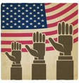 hands up on American flag old background vector image vector image
