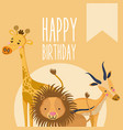 happy birthday cute animal card vector image