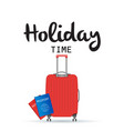 holiday time baggage and passport background vector image vector image