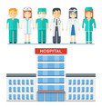 hospital and medical staff vector image vector image