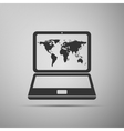 Laptop with world map icon on grey background vector image