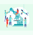 large microscope with scientists in a flat design vector image