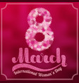 lettering 8 march on blurred burgundy background vector image vector image