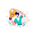 man holding idea lamp bulb vector image