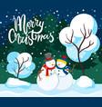 merry christmas sculptures snow snowman in park vector image