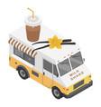 milk shake truck icon isometric style vector image vector image