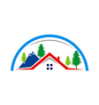 mountain village cottage house logo vector image vector image