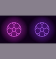 neon football ball in purple and violet color vector image vector image