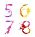 paint splash font 5678 vector image vector image