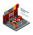 race car at station isometric composition isolate vector image vector image