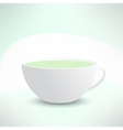 realistic cup with green tea Cafe banner vector image vector image