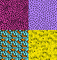 Retro 80s seamless pattern background set vector image