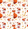 Seamless fox and leaves vector image vector image