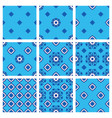 seamless pattern set blue fabric collection vector image vector image