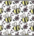 seamless pattern with cute little bees vector image vector image
