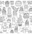 seamless pattern with hand-drawn cacti vector image