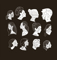 set diverse female and male face silhouettes vector image