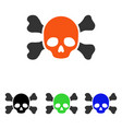 skull and bones flat icon vector image vector image