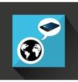 smartphone blue screen unlock globe global vector image vector image