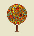 tree with ethnic indian style flower mandala art vector image