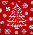 white paper christmas tree on the red vector image