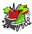 with cartoon sneakers vector image vector image