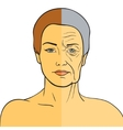 Woman face before and after aging Young woman and vector image vector image