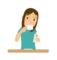 women drink coffee and she look at the smartphone vector image