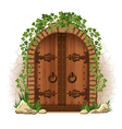 Wooden door with ivy vector image vector image