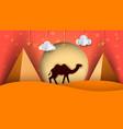 cartoon paper landscape camel cloud vector image
