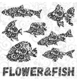 set of fish silhouettes with flower pattern vector image