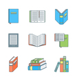 colored outline books icons set vector image